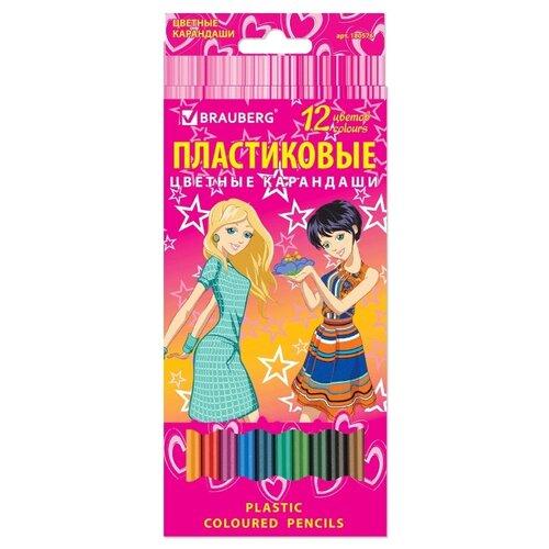 Купить BRAUBERG Карандаши цветные Pretty Girls 12 цветов (180576), Цветные карандаши