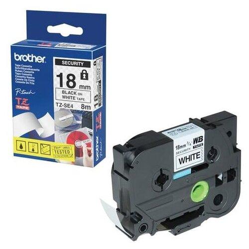 Фото - Картридж для принтеров этикеток BROTHER TZE-SE4, 18 мм х 8 м, чёрный шрифт, белый фон, ламинирование, пломбировка картридж для принтера этикеток brother арт tze 253 24 мм