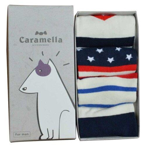 Носки Caramella Бультерьер-2, 4 пары, размер 23-27, белый/красный/синий