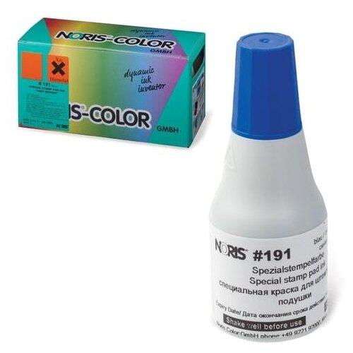 Фото - Краска штемпельная NORIS, синяя, 25 мл, (унив. для глянц. бумаги, металла, пластмасс и т.д.), 191Ас штемпельная краска noris 196c 50 мл