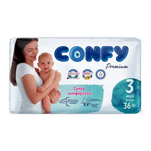 Купить CONFY подгузники Premium 3 (4-9 кг) 36 шт., Подгузники
