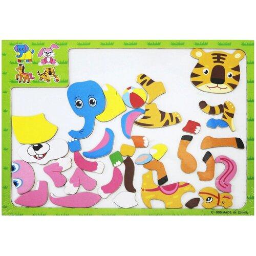 Junfa toys Мозаика магнитная Животные (С-005) junfa toys настольная магнитная игра 6 в 1 junfra
