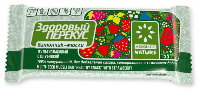 Злаковый батончик Absolute NATURE Здоровый перекус без сахара с клубникой, 55 г