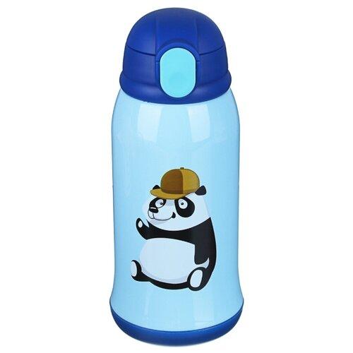 Термос детский в чехле, 500 мл, пластик, сталь,голубой(панда,зебра)