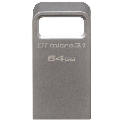 Фото - Флешка Kingston DataTraveler Micro 3.1 64 GB, серебристый флешка kingston datatraveler 106 64 gb черный красный