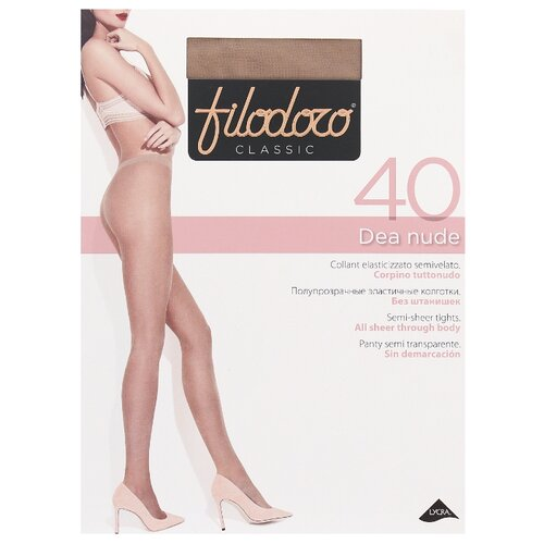 Фото - Колготки Filodoro Classic Dea Nude, 40 den, размер 4-L, playa (бежевый) колготки filodoro classic ok shape 40 den размер 4 l playa бежевый