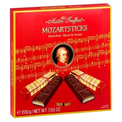 Шоколад Maitre Truffout темный Mozartsticks с марципановой начинкой со вкусом фисташек, порционный, 200 г
