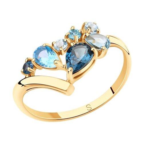 SOKOLOV Кольцо из золота с голубыми и синим топазами и фианитами 715675, размер 17.5