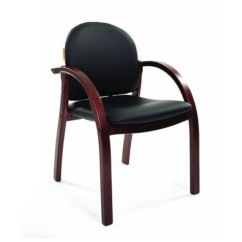 Стул Chairman 659, дерево/искусственная кожа, цвет: черный матовый/темный орех