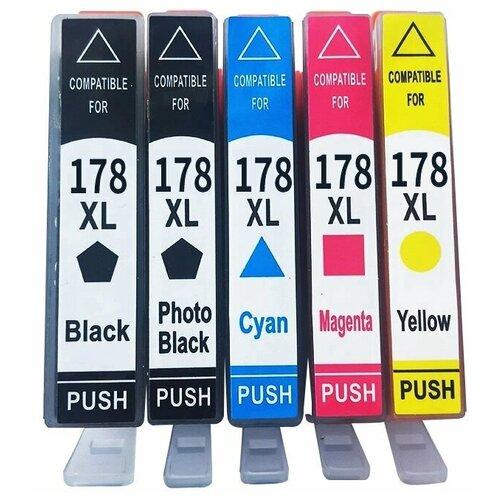 Комплект картриджей 178 XL/178XL для принтера HP, 5 цветов (голубой, пурпурный, желтый, черный, фото черный), для струйного принтера, совместимый