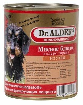Корм для собак Dr. Alder`s АЛДЕРС ГАРАНТ утка рубленое мясо Для взрослых собак (0.8 кг) 1 шт.