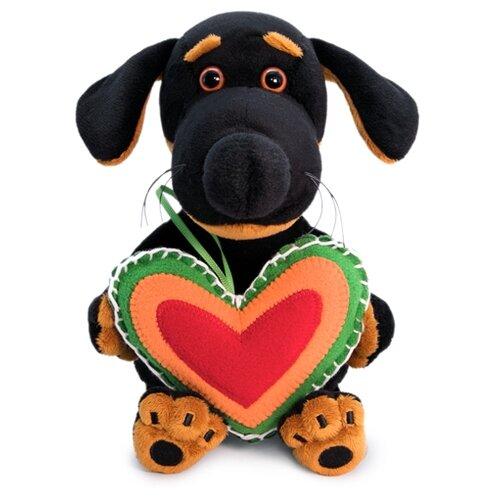 Купить Мягкая игрушка Basik&Co Пёс Ваксон baby с сердечком из флиса 20 см, Мягкие игрушки