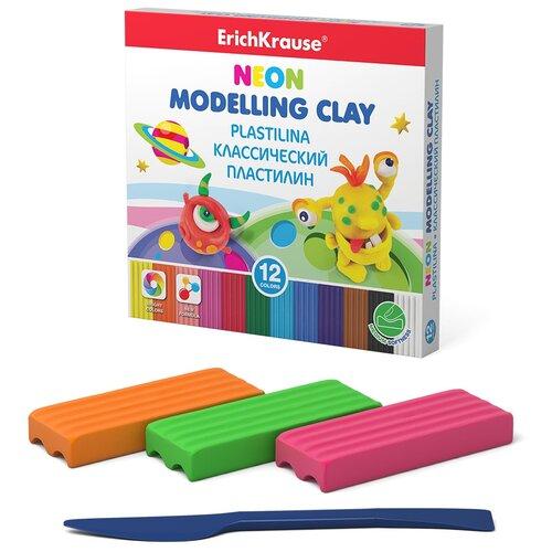 Купить Пластилин ErichKrause Monsters Neon 12 цветов/180 г (50556), Пластилин и масса для лепки