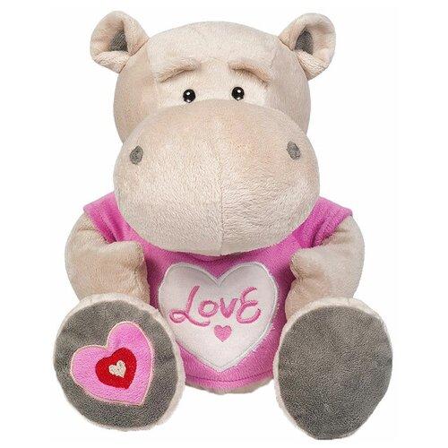 Мягкая игрушка Maxitoys Бегемот Боня в маечке с сердцем 30 см игрушка мягкая maxitoys калифорнийский кролик 30 см