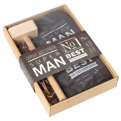 Фото - Молоток для отбивания мяса Доляна Super man 4654916 с прихваткой бежевый/черный аксессуар для отбивания мяса tescoma 637382