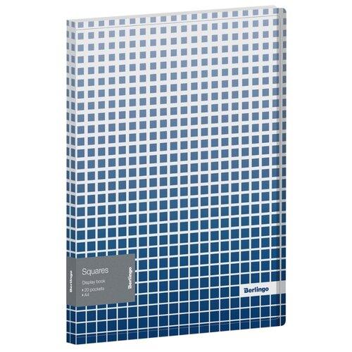 Купить Berlingo Папка с 20 вкладышами Squares A4, пластик белый/синий, Файлы и папки