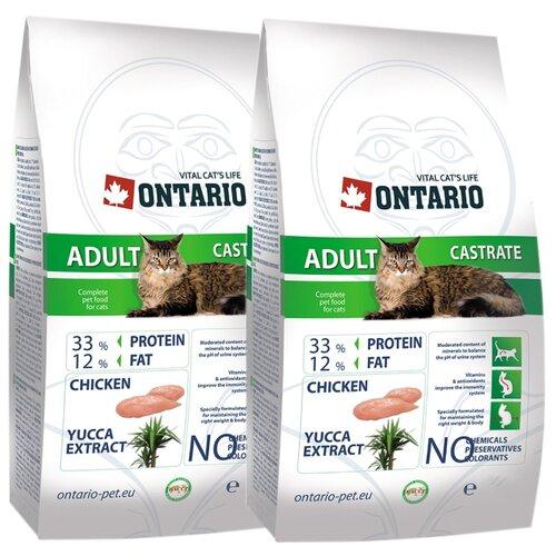 Сухой корм для стерилизованных кошек Ontario с курицей 2шт. х 10 кг