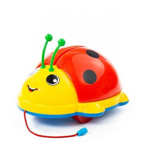 Каталка-игрушка Molto Божья Коровка 7888 (в сеточке) со звуковыми эффектами красный/желтый/голубой каталка игрушка molto утёнок с ручкой 7925 со звуковыми эффектами желтый зеленый красный