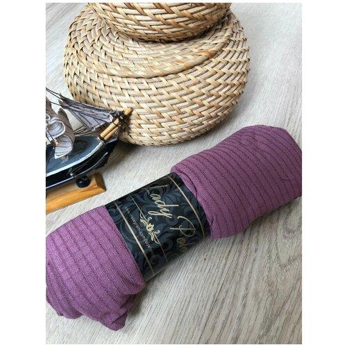 Палантин трикотаж 100*170 см клетка фиолетовый