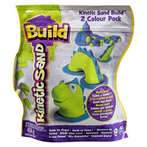 Кинетический песок Kinetic Sand Build, 2 цвета, голубой/зеленый, 0.45 кг, пакет кинетический песок angel sand творчество 3 цвета 1 2 л