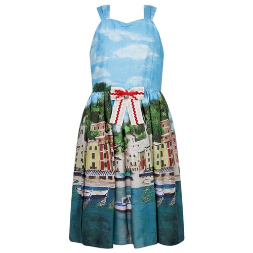 Купить Сарафан Lesy размер 152, голубой/разноцветный, Платья и сарафаны