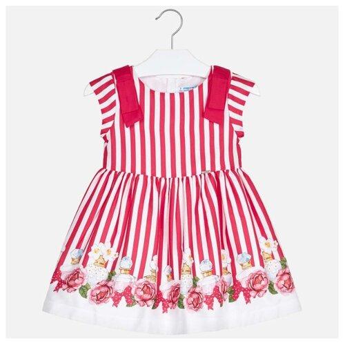Платье Mayoral размер 98, полоска/белый/розовый