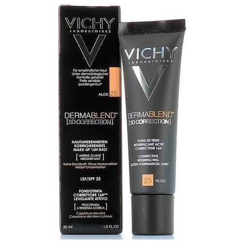 Vichy Тональный крем Dermablend 3D Correction, 30 мл, оттенок: 25 Nude консилер dermablend cosmetique corrective от vichy