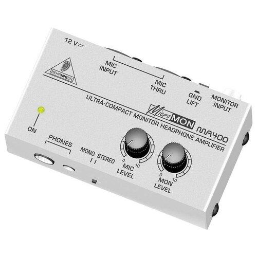 BEHRINGER MA400 Компактный мониторный усилитель для наушников с дополнительным сквозным микрофонным каналом и возможностью регулировки баланса уровней микрофона /линейного входа при прослушивании