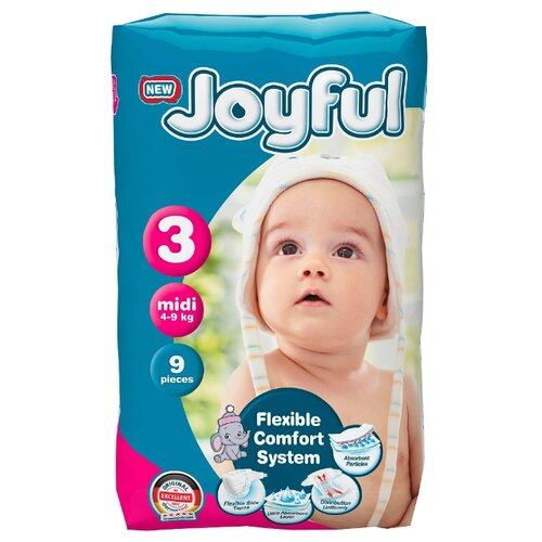 Купить Joyful подгузники 3 (4-9 кг) 9 шт., Подгузники