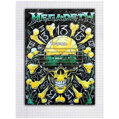 Купить Набор тетрадей 5 штук, 12 листов в клетку с рисунком Megadeth череп в очках, Drabs, Тетради