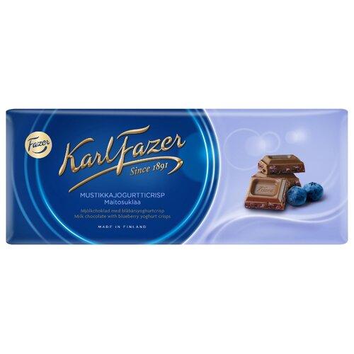 Шоколад Fazer молочный с криспами черничного йогурта 30% какао, 190 г karl fazer молочный шоколад с крошкой соленой карамели 200 г