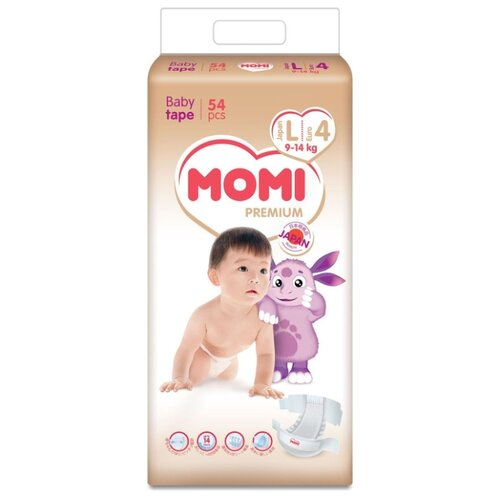 Купить Momi подгузники Premium L (9-14 кг), 54 шт., Подгузники
