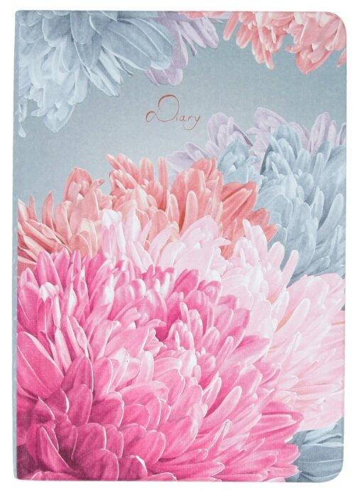 Ежедневник Канц-Эксмо In Bloom Астры недатированный, искусственная кожа, А6, 128 листов, розовый/серый