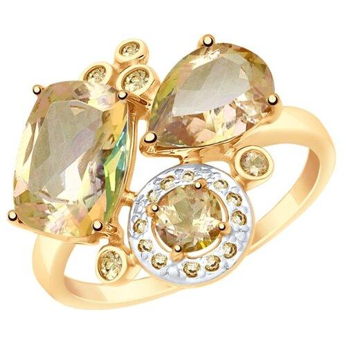 SOKOLOV Кольцо из золота с топазами Swarovski и жёлтыми Swarovski Zirconia 715020, размер 18