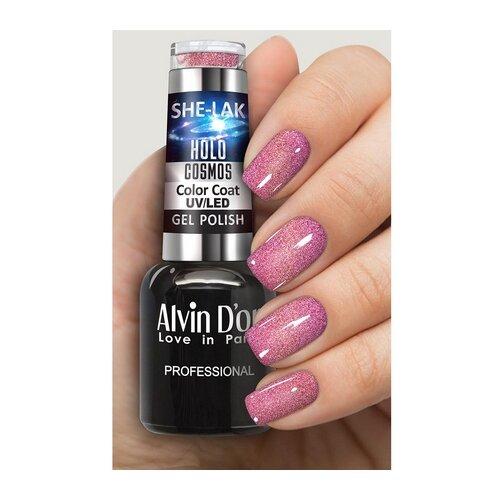 Купить Гель-лак для ногтей Alvin D'or She-Lak Holo Cosmos, 8 мл, оттенок 6810