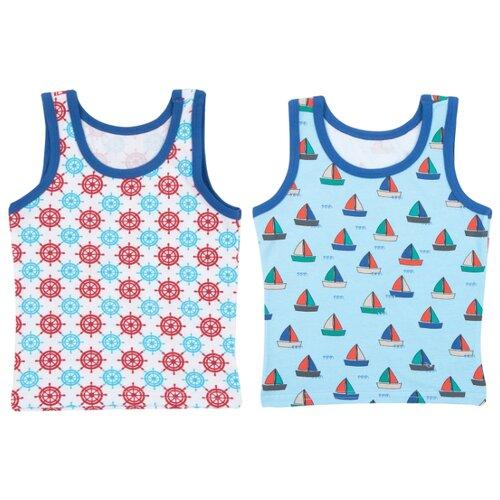 Купить Майка Leader Kids 2 шт., размер 98-104, белый/бирюзовый/красный, Белье и пляжная мода