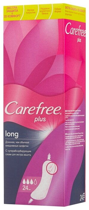 Carefree прокладки ежедневные Plus Long 24 шт.