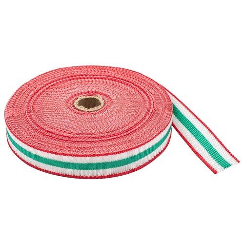 Купить С3824Г17 Стропа-30-5п рис.9492 30мм*25м (1 красный/белый/зеленый), Красная лента, Технические ленты и тесьма