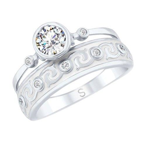 SOKOLOV Кольцо из серебра с эмалью и горным хрусталем и фианитами 92011628, размер 19 фото