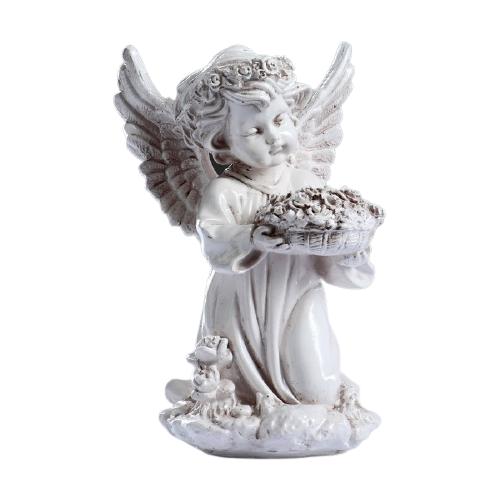 Статуэтка Хорошие сувениры Ангел с чашей цветов 21 см кремовый