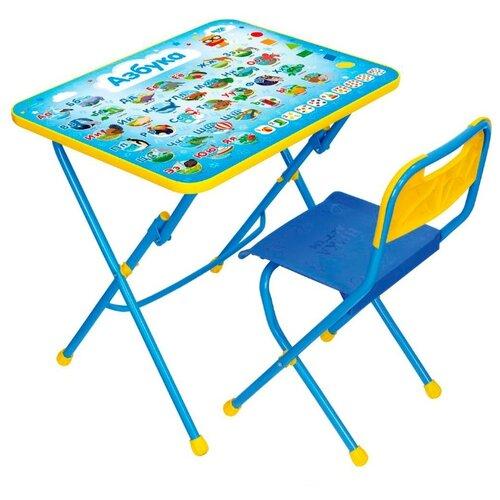 Купить Комплект Nika стол + стул Азбука (КПУ1/9) 60x45 см синий, Парты и столы