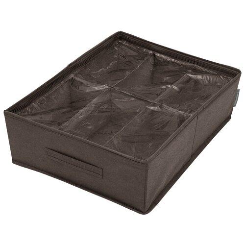 Всё на местах Кофр для обуви Прага, 6 ячеек, 53х40х15 см коричневый кофр для хранения el casa плетение 35 30 20 см коричневый