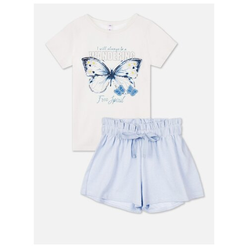 Купить Комплект одежды playToday размер 122, белый/голубой, Комплекты и форма