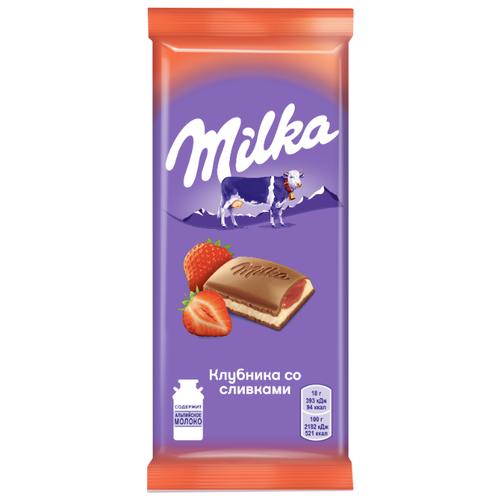 шоколад milka молочный 90 г Шоколад Milka молочный с клубнично-сливочной начинкой, 90 г