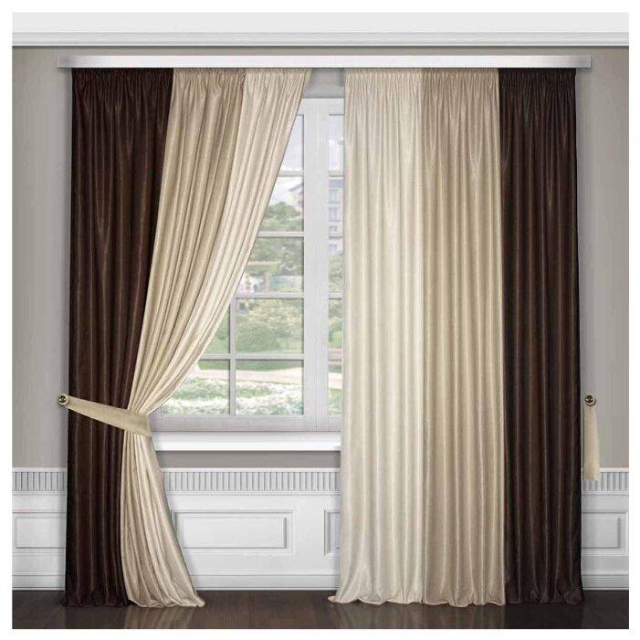 Комплект штор ТД Текстиль 270х200см венге, бежевый, кремовый