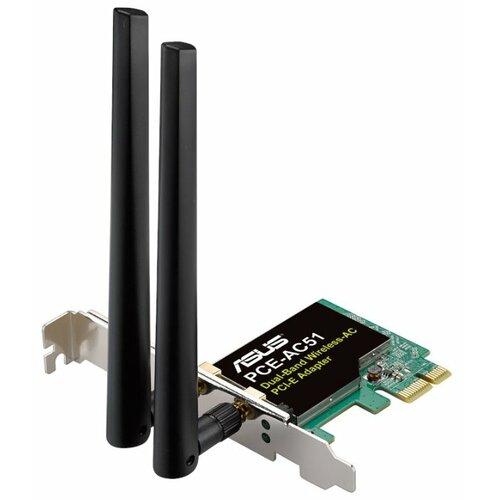 Wi-Fi адаптер ASUS PCE-AC51 зелёный wi fi адаптер asus pce ac68