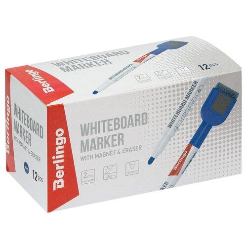 Купить Berlingo Набор синих маркеров для для белой доски Uniline WB220 (PM7213), 12 шт., синий, Маркеры