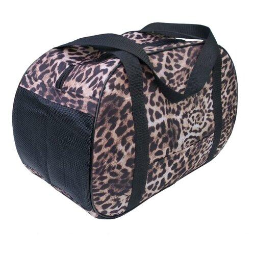 Сумка-переноска для кошек и собак Теремок СП-4 40х21х27 см коричневый/черный/леопард
