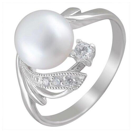 Эстет Кольцо с жемчугом и фианитами из серебра С15К351256, размер 18 ЭСТЕТ