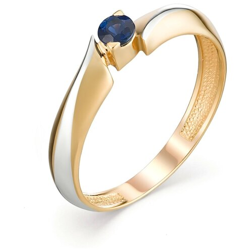 АЛЬКОР Кольцо с 1 сапфиром из красного золота 13098-102, размер 17